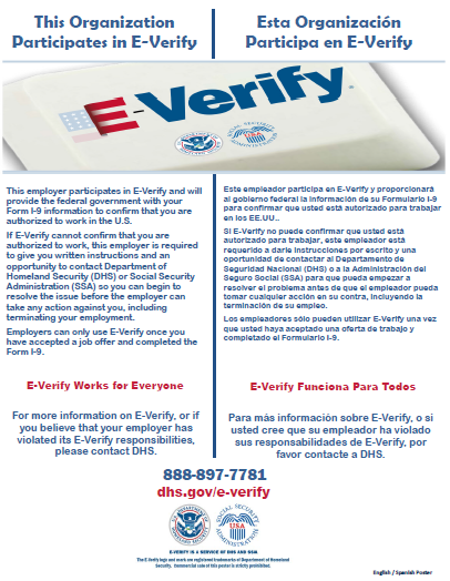 E-Verify poster English and Spanish